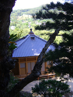 view through pine tree of completed Hall of Compassion with sacred ball