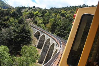 Yellow train in The Pyrenees