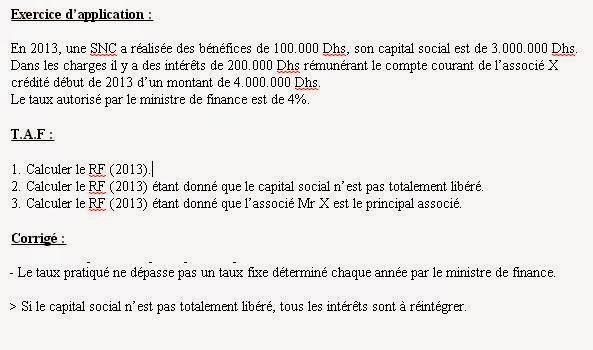 le calcule de la Résultat fiscale pour une SNC