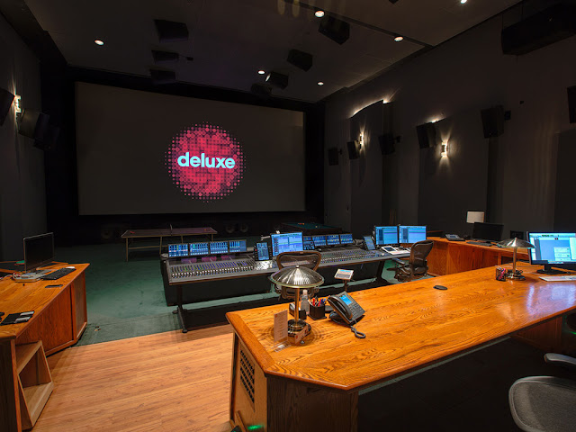 A theatrical mix stage at the Glen Glenn Sound facility, the center of audio post-production operations for Deluxe.
