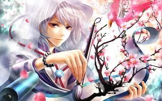 Cute Guy Artist Painting Flowers White Hair Anime HD Wallpaper Desktop PC Background 1708