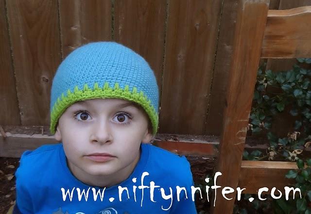 Free Crochet Pattern ~Brandon's Beanie http://www.niftynnifer.com/2014/10/free-crochet-pattern-brandons-beanie.html #Crochet #Singlecrochet #Crochetbeanie