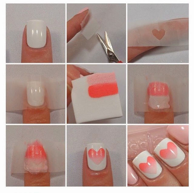 Cute heart nail art design step by step beauty and fashion tutorials both can apply this nail design at home salon for applying this nail art you should need a tap spunch and nail polish in color that you want to apply prinsesfo Images