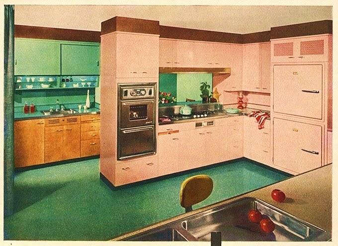 Farm Girl Pink....: ~ Vintage Pink kitchens.... cabinets....
