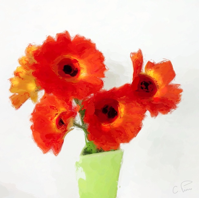 Orange Bouquet in Green Vase by Christianna Pierce