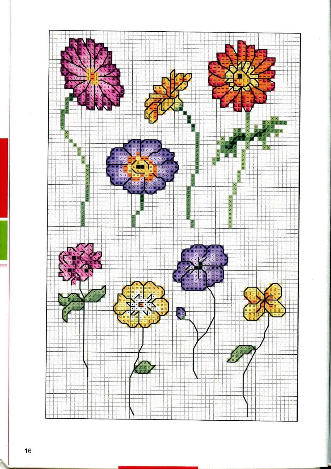 Простые схемы для вышивки крестом цветы 22