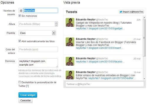 Configuraciones del Widget de Twitter