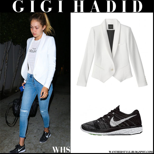 Gigi Hadid in white Smythe Anytime blazer, skinny jeans and black Nike Flyknit Lunar 3 sneakers what she wore august 8