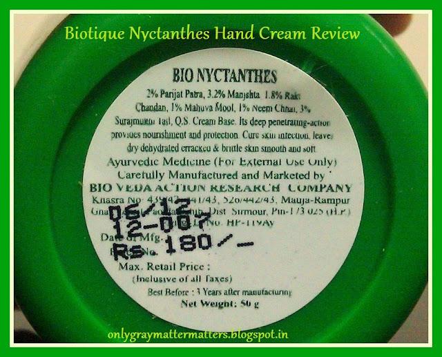 Biotique Bio Nyctanthes Hand Cream Ingredients