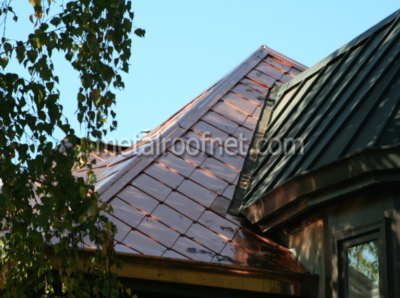 Diamond Roofing Shingles In Copper And Natural Steel