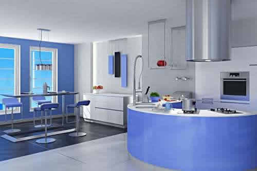 Furniture decoration ideas kitchen cabinets blue paint for Cocinas grandes modernas