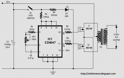 100w inverter circuit by irf44 mosfet schematic diagram