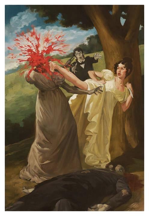 dessin d'une femme victorienne éclatant la tête d'une autre femme avec un high kick