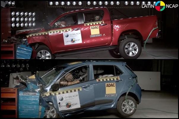 Latin NCAP: La Toyota Hilux se lució y el Hyundai Grand i10 decepcionó