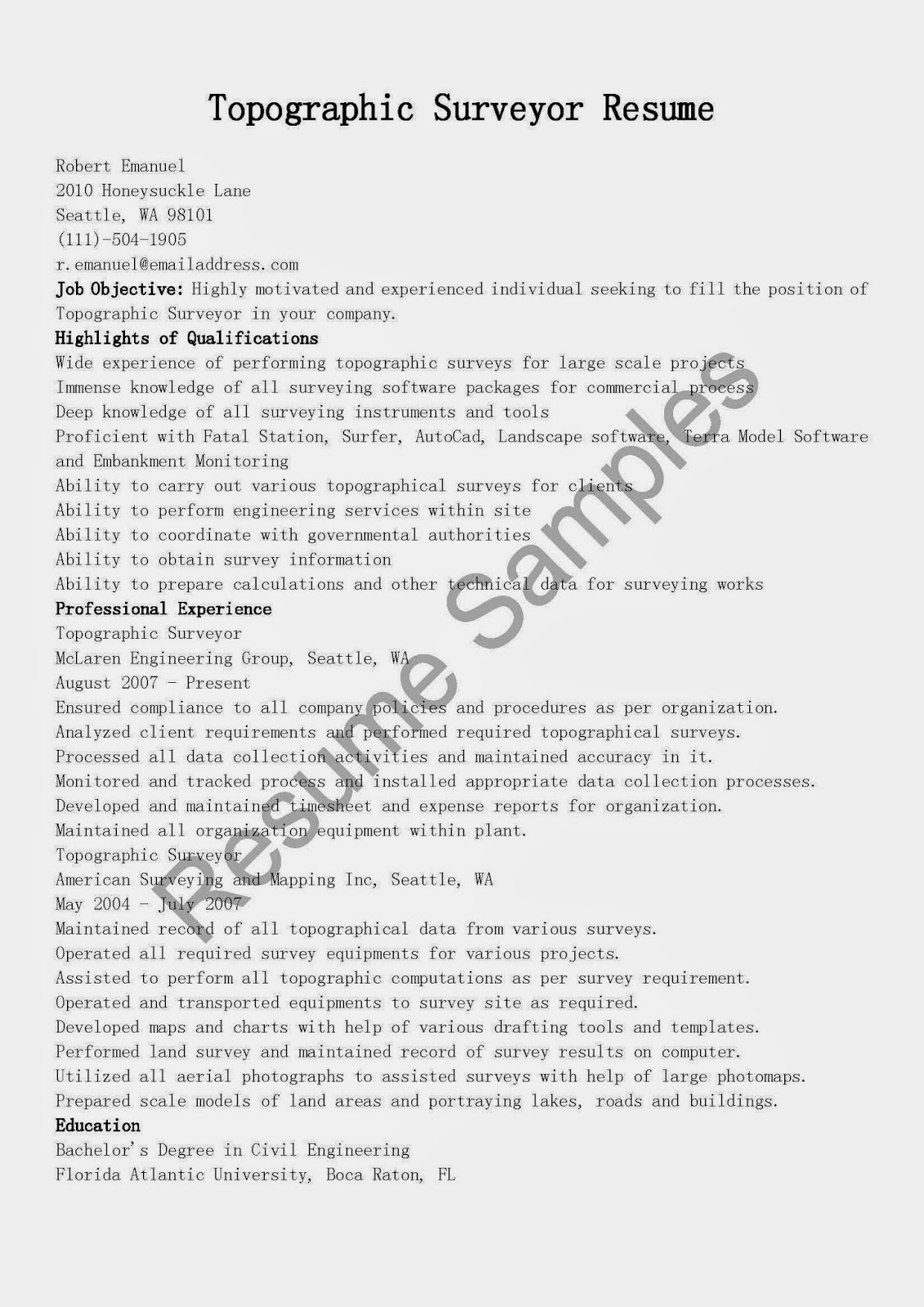 Resume Samples Assistant Surveyor Resume Sample