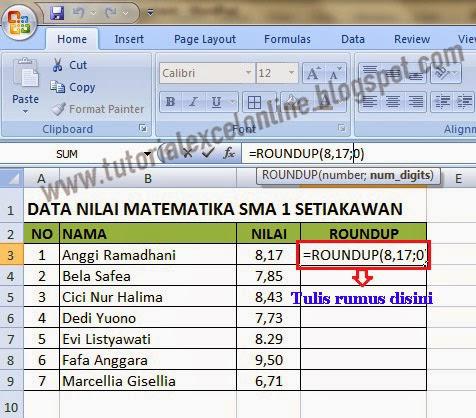Rumus pembulatan ke atas Excel