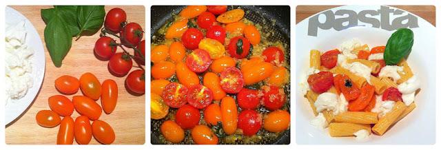Tomates cherry naranjas y burrata