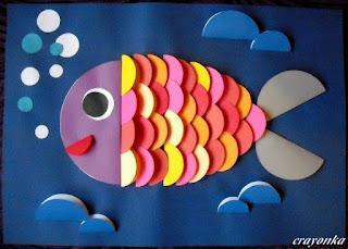 ryba z origami płaskiego z kół