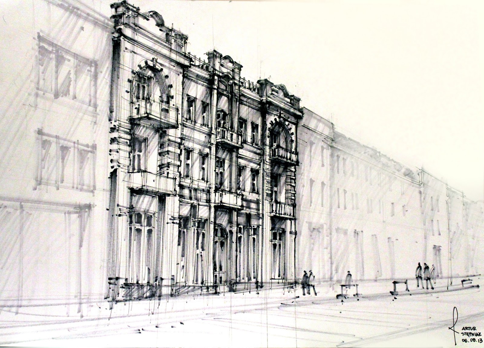 Modern architecture sketches artur st pniak gallery for Architectural plans of famous buildings