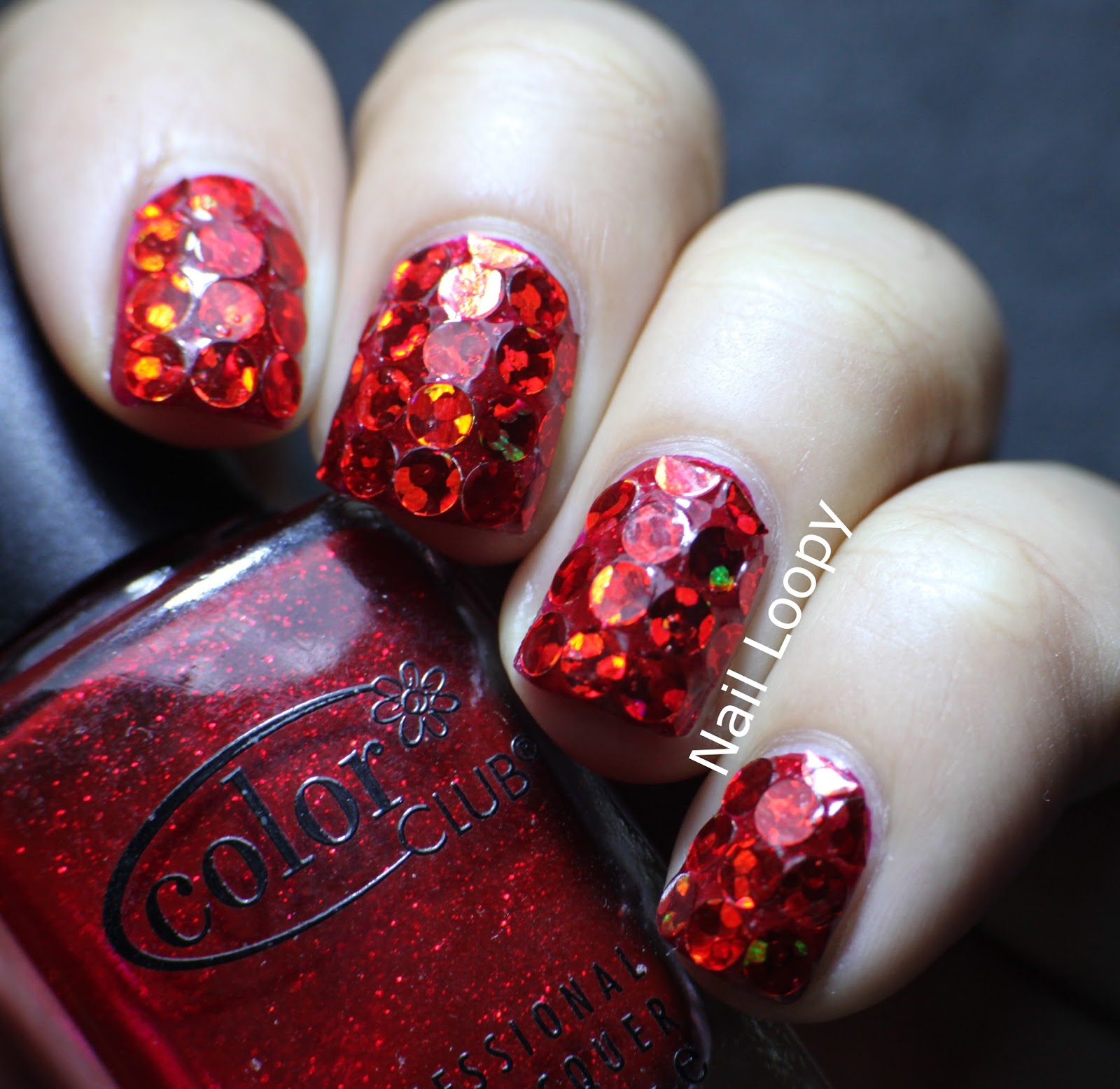 nail loopy: super hologrpahic & sparkly red glitter nails!