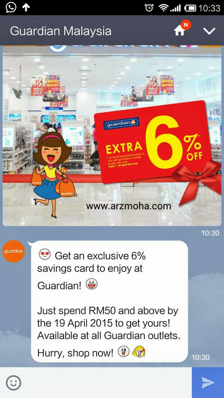 guardian malaysia, 6% off, line, android, shopping,