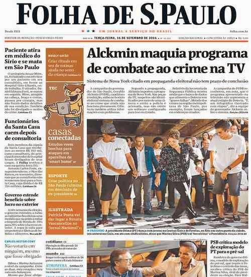 primeira página folha   de São   Paulo