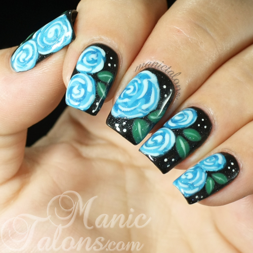 Blue Roses on Black with Revel Nail Gel Polish