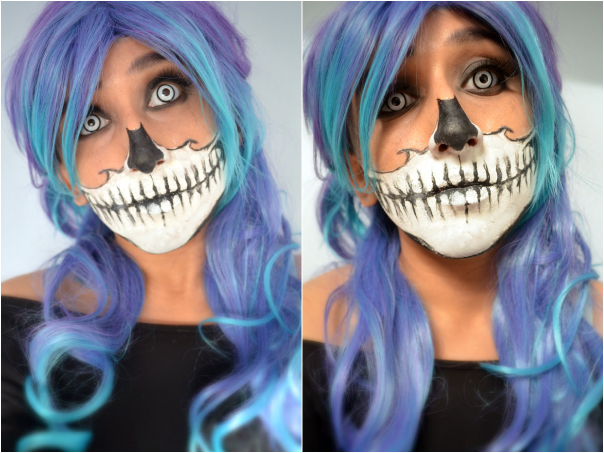 Half skull halloween makeup