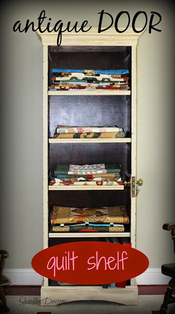 Home decor, quilt shelf, antique door shelf