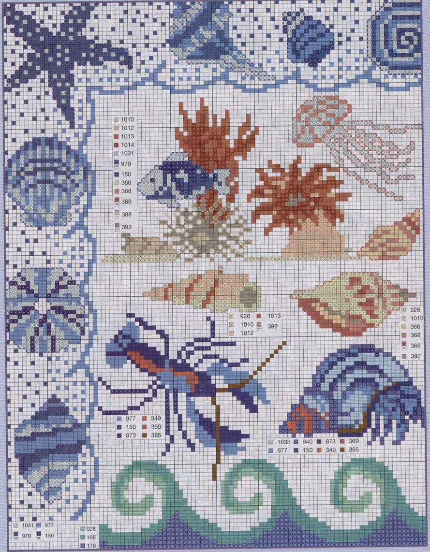 Схемы вышивки с морскими обитателями