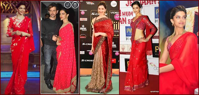 , Deepika at iifa red saree, deepika red saree look