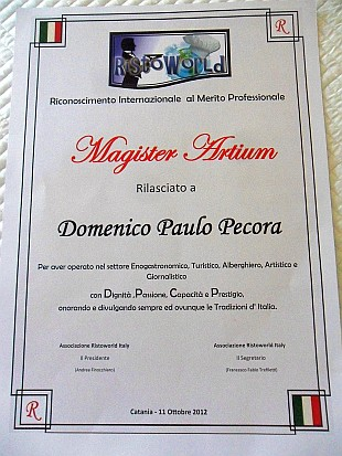 """Magister Artium"" - Chef/Magistrato al benemerito della Casa Real di Cerneti pela Ristoworld Itlia"
