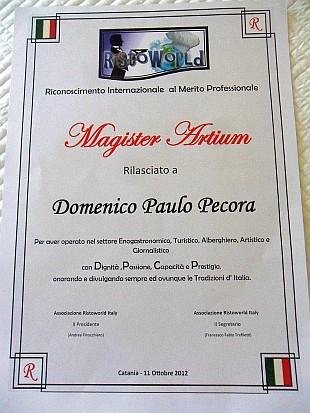 """""""Magister Artium"""" - Chef/Magistrato al benemerito della Casa Real di Cerneti pela Ristoworld Itália"""