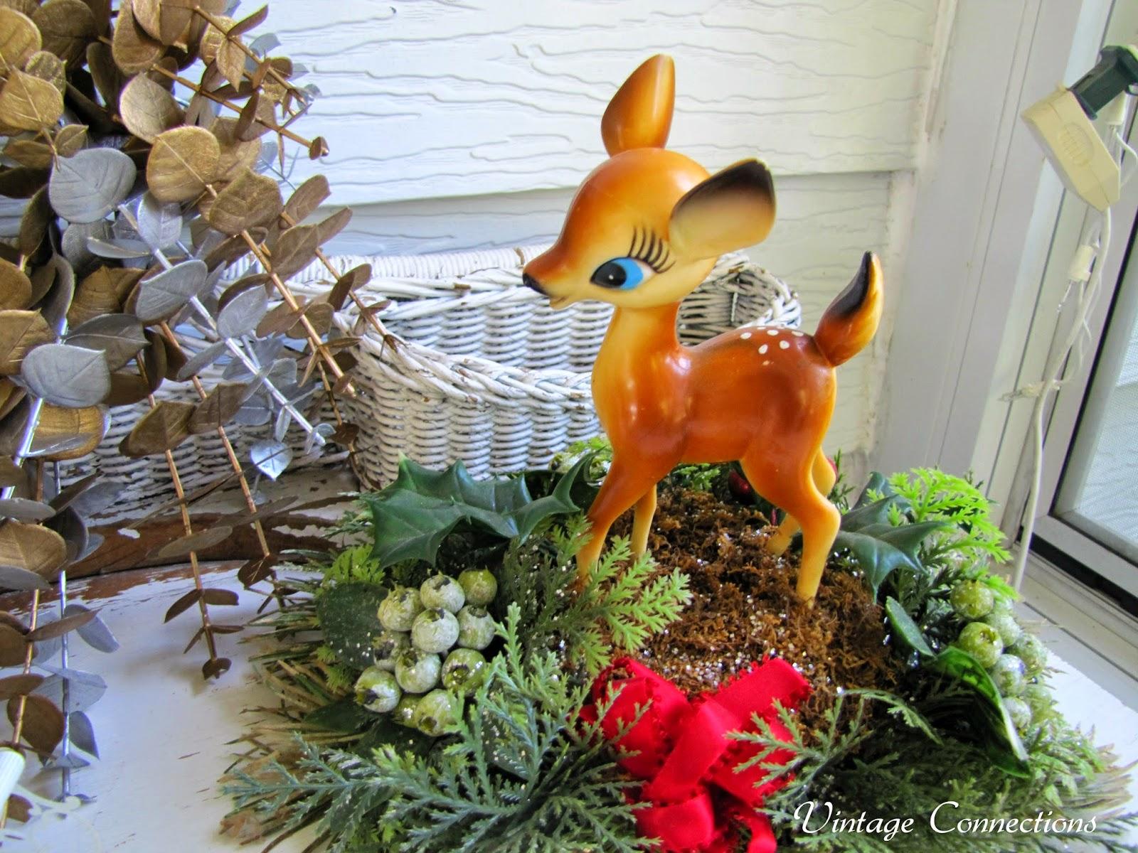 An Adorable Vintage Deer Christmas Centerpiece