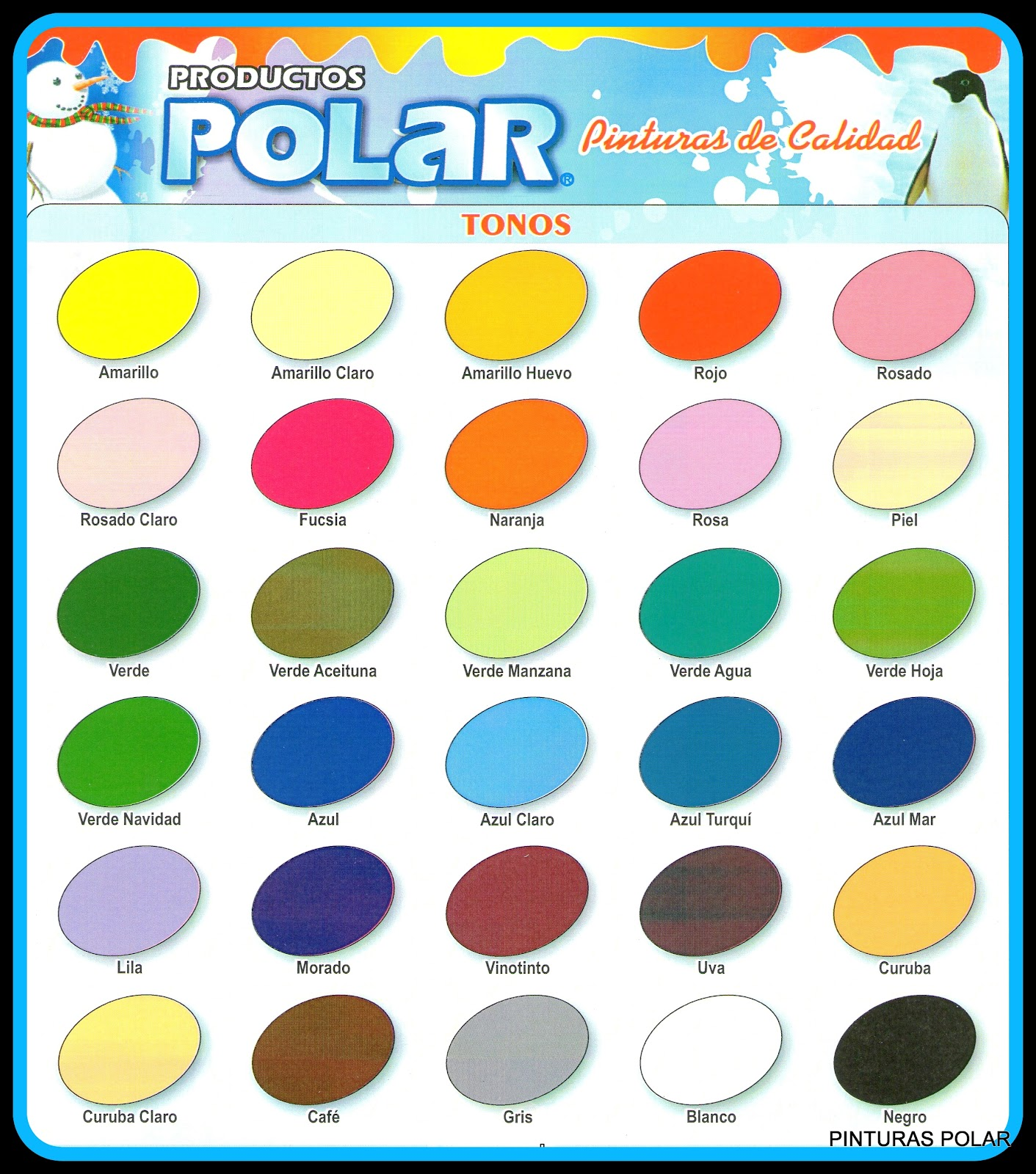 Pinturas polar 2018 enero 2013 - Carta de colores azules ...