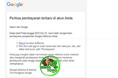 Email : Gajian dari Google Adsense