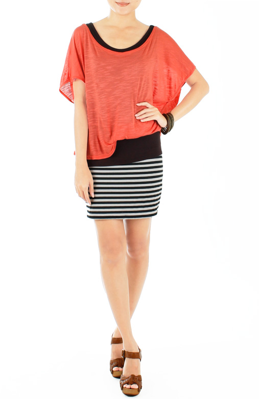 Weekend Chic Stripe Dress - Coral