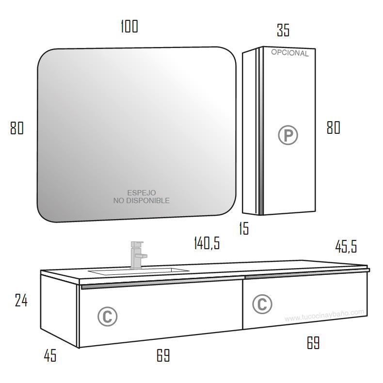 medidas mueble de baño grande 140