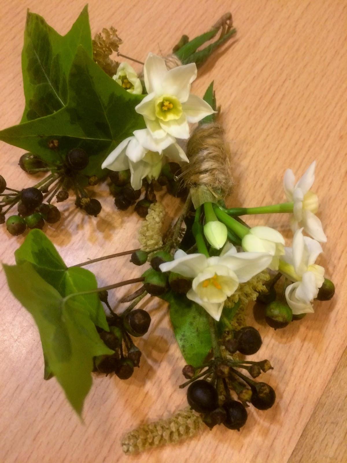 Wedding flowers Birmingham.  Spring buttonholes by Tuckshop Flowers.