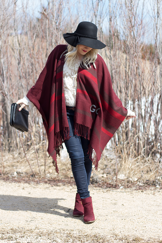 Lace top with wine coloured shawl styled by blogger Jennifer Ashley.