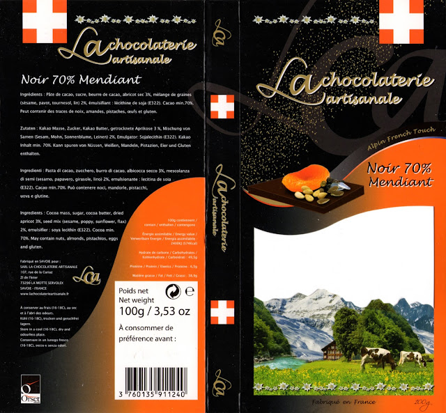 tablette de chocolat noir gourmand la chocolaterie artisanale noir mendiant 70