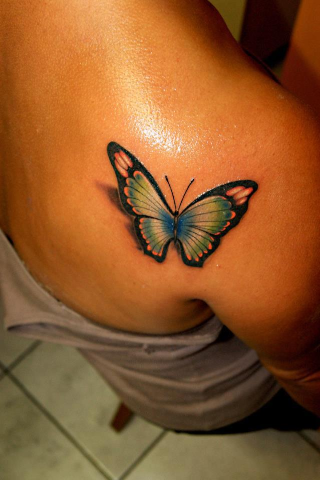 home back tattoos 3d butterfly tattoo on back