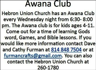 Every Wednesday, Awana Club