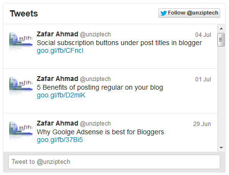 recent tweets widget blogger