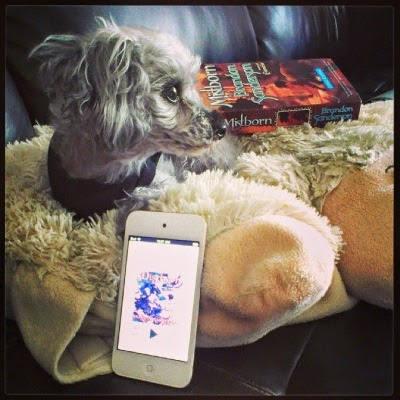 Murchie lounges on his sheep shaped pillow. An iPod with the cover for Mistborn appears directly in front of him, propped up against the pillow's edge. A paperback copy of the book sits slightly behind and to the right of him.