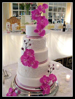 Cake with orchid flower