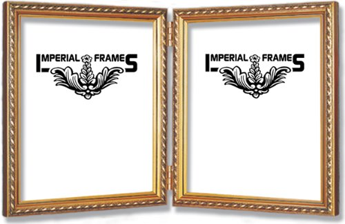 8x10 Double Frame Gold Solid Wood