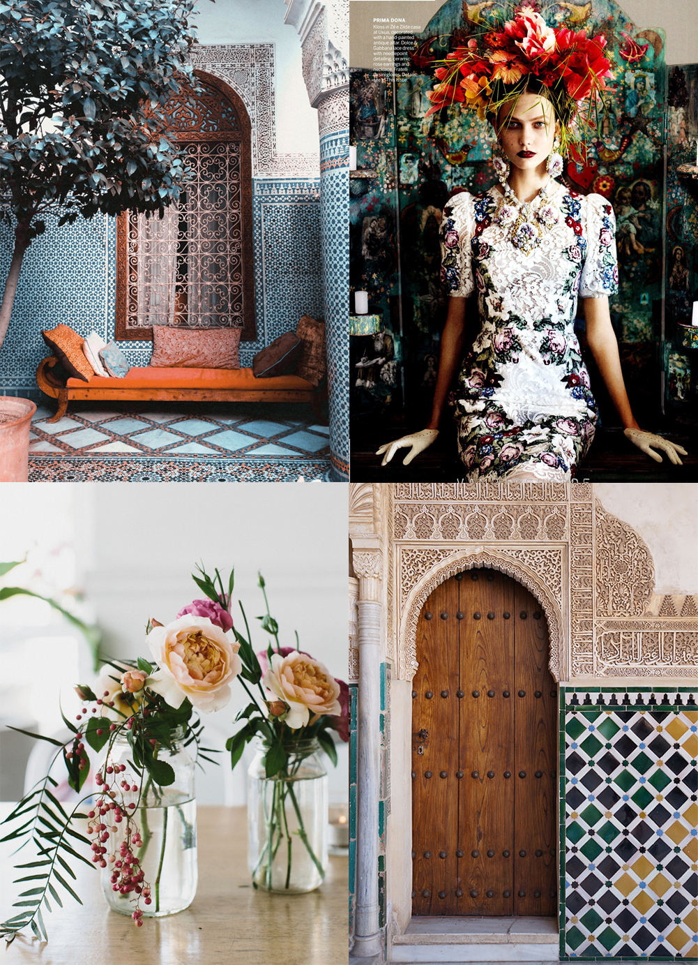 moroccan tiles, fall colors, navy blue tile, fall flowers, karlie kloss vogue