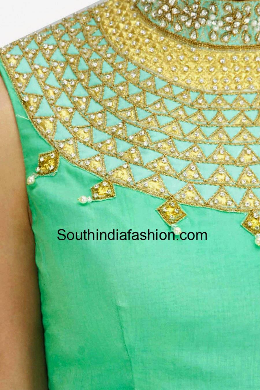 high neck saree blouse designs