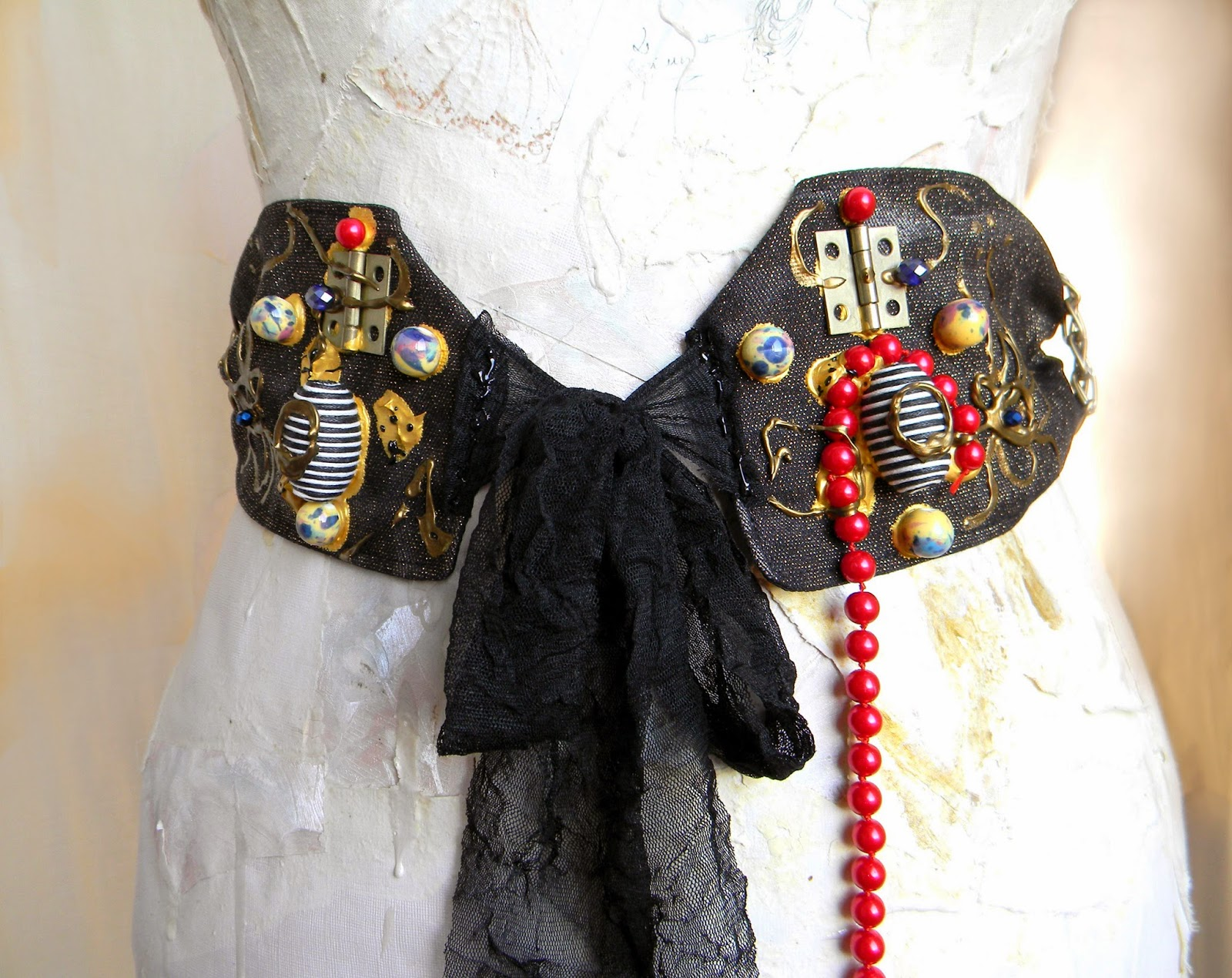 Steampunk Couture Modern Waist Belt with Fashion Applique